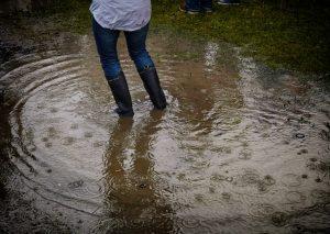 Schmutzwasserpumpe für Überschwemmung im Garten